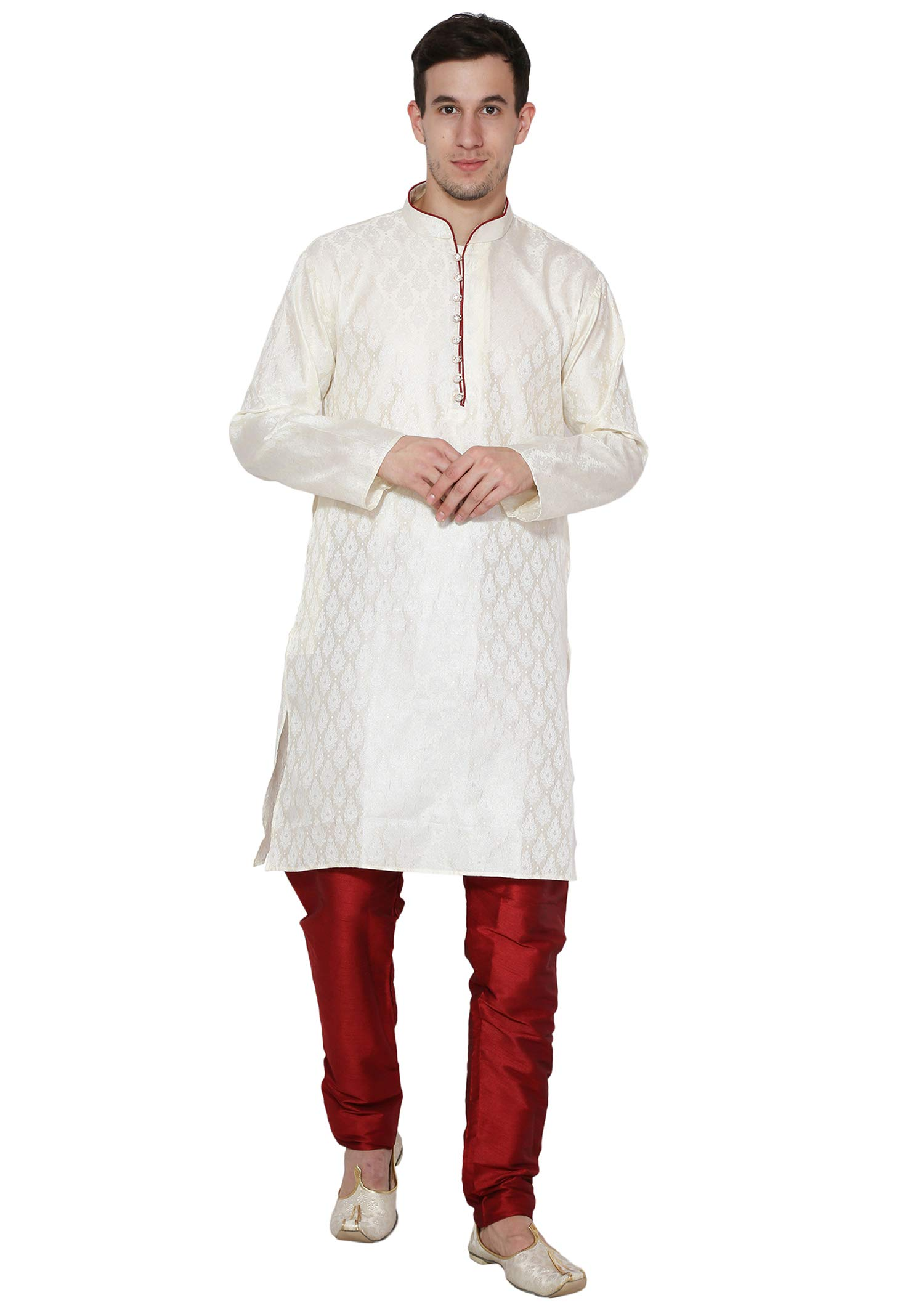 Mens Kurta Pajama Long Sleeve Jacquard Silk Blend Shirt Pyjama Indian Clothing Fashion Ethnic Dress -L Off-White