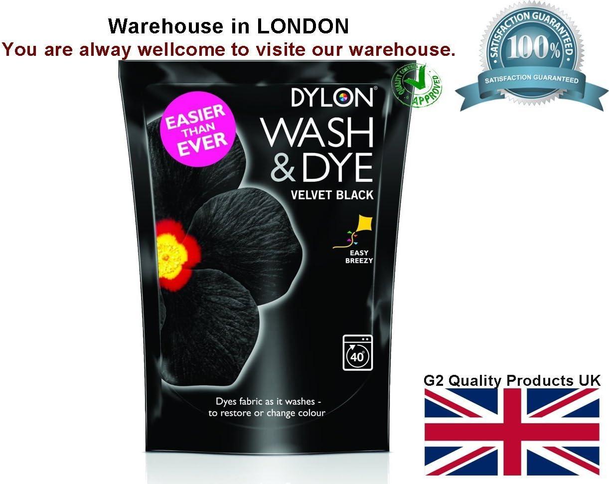 2x VELVET BLACK DYLON WASH AND DYE 350G FABRIC CLOTHES MACHINE DYE