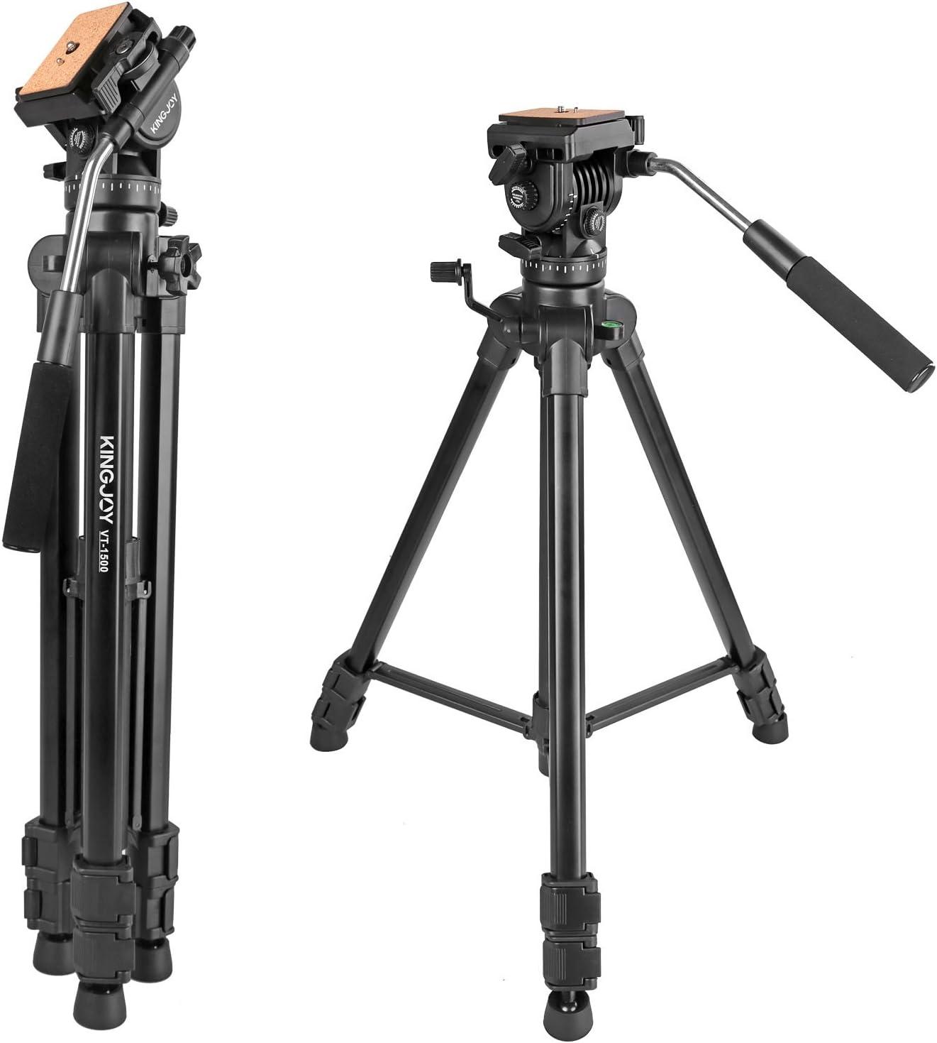Video Tripod with Fluid Head, Kamisafe KINGJOY VT-1500 Heavy Duty Camera Tripod Travel Tripod Aluminum Compatible for DSLR SLR Nikon Canon Sony Camcorder DV with Carry Bag