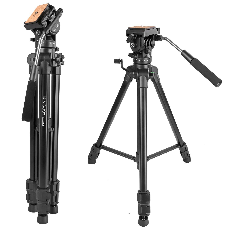 Kamisafe KINGJOY VT-1500 65''/166cm Adjustable Camera Video Tripod with Detachable Fluid Drag Pan Tilt Head for Canon Nikon Sony DSLR Camera Video Camcorder Shooting Filming