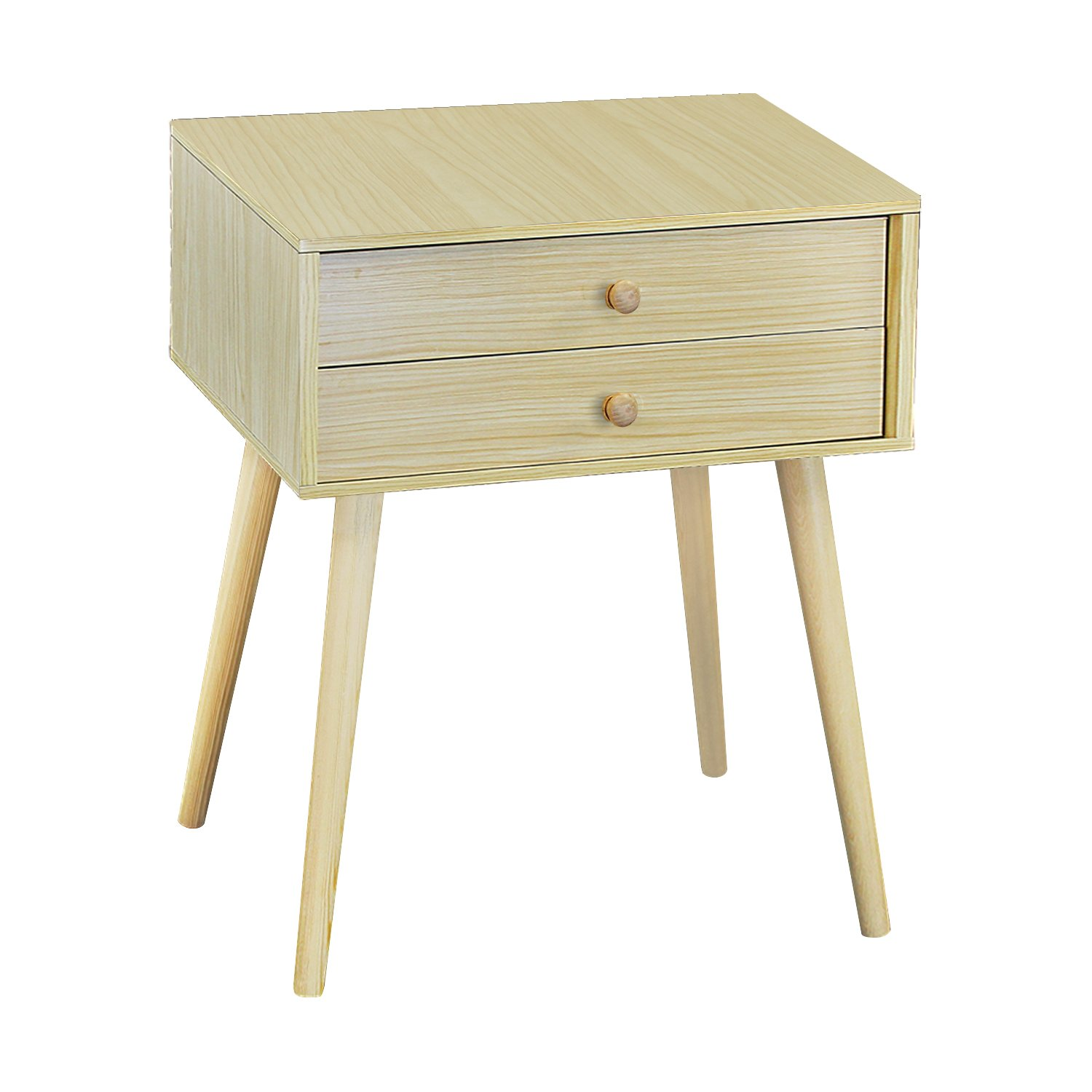 Natural Wood With 2 Tiers DL furniture Furniture004 Side End Nightstand Bedroom Livingroom Table Cabinet 2 Drawers   Natural Wood & White, Tiers
