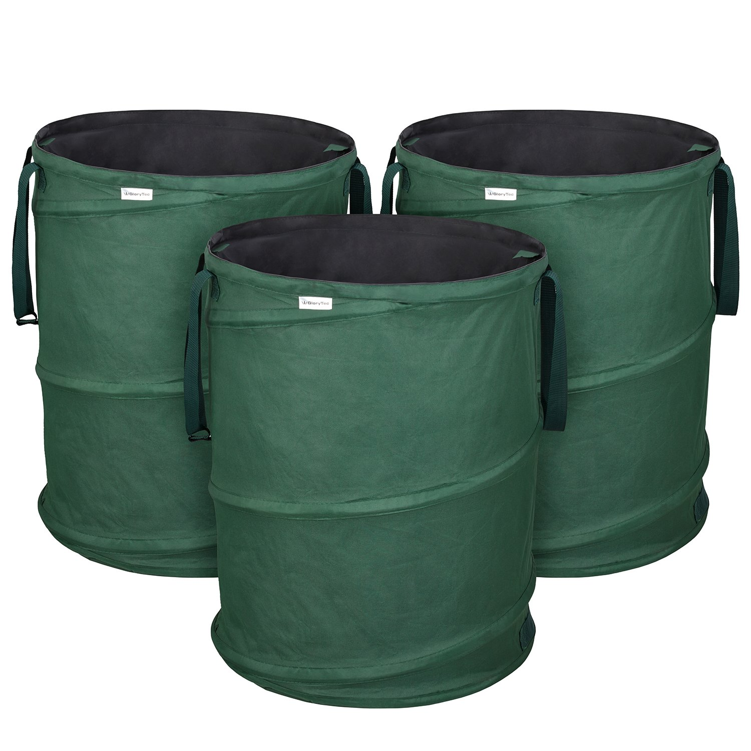 GloryTec 3-Pack Garden Bags 45 Gallons Each - Collapsible Self-Erecting Gardening Bag - Comparative-Winner 2018 - Reusable Trash Can for Leaf, Lawn and Yard Waste - Premium Bagster with Spring Bucket