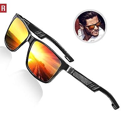 96ee3538c3b4 ROCKNIGHT Polarized UV Protection Sunglasses for Driving Red Mirror  Sunglasses for Men Lightweight Sunglasses Men