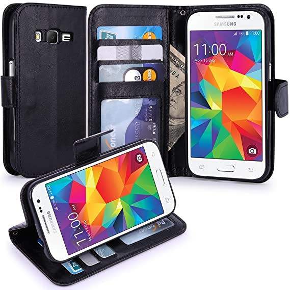 low priced f91bc 67b45 LK Case for Core Prime, Galaxy Core Prime Wallet, Luxury PU Leather Case  Flip Cover with Card Slots Stand for Samsung Galaxy Core Prime, Black