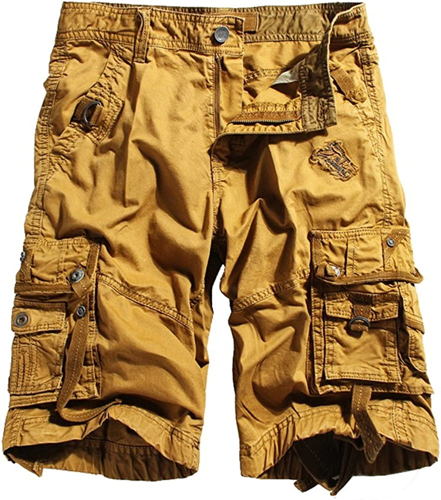 Allonly Mens Cotton Fashion Casual Solid Color Relaxed Fit Multi-Pocket Letters Embroidered Cargo Shorts