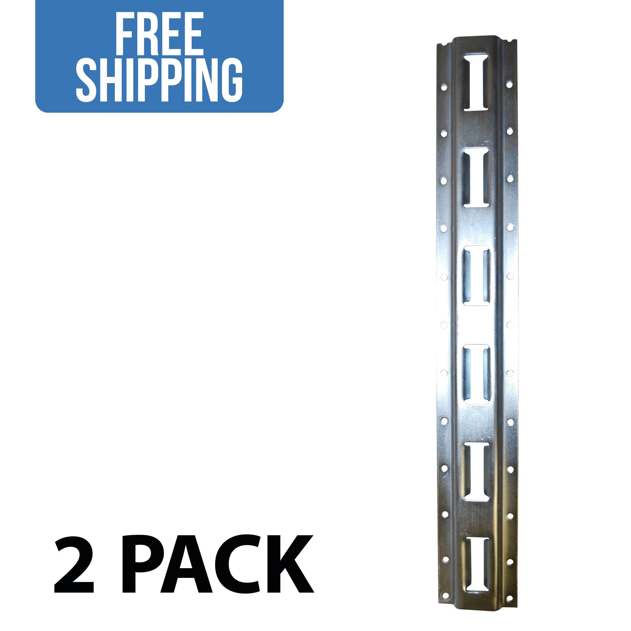 8' Vertical E-Track - 2 PACK - Shippers Supplies - Tie Down Rail Made with 12 Gauge Galvanized Steel for Securing Cargo in Your Trailer, Van, Pickup Truck and More!