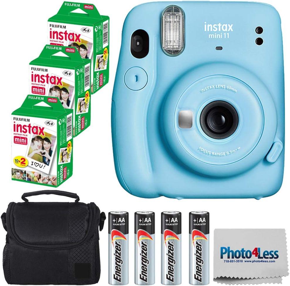 Fujifilm Instax Mini 11 Instant Camera - Sky Blue (16654762) + 3 Packs Fujifilm Instax Mini Twin Pack Instant Film (16437396) + Batteries + Case Cloth