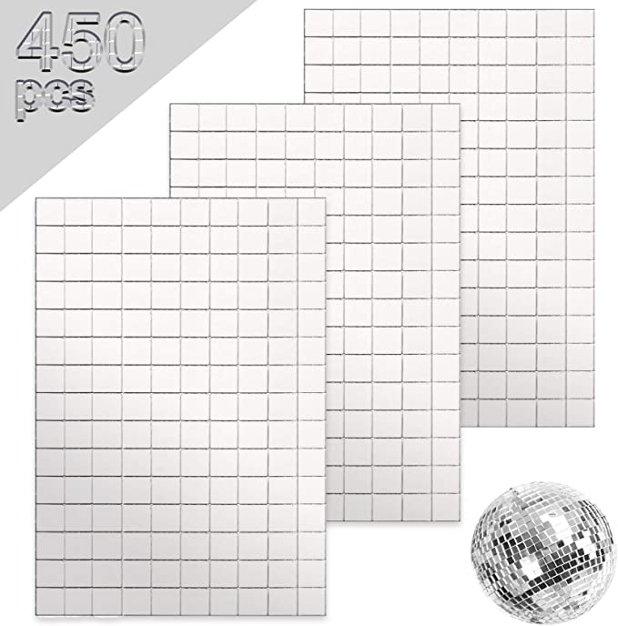 Self Adhesive Mini Mirror Mosaic Square Sticker Glass Wall Tile Home Decor 15cm