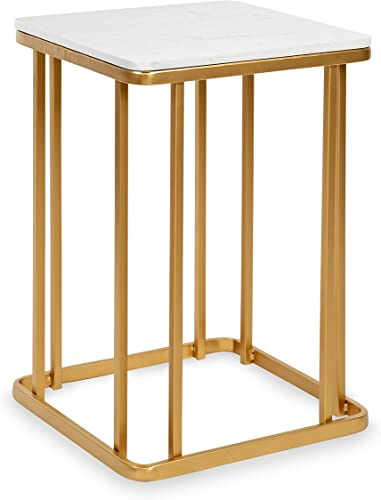 Kate and Laurel Credele Modern Side Table, 16 x 16 x 24 , Gold and White, Glam Home Decor with Cultured Marble Top