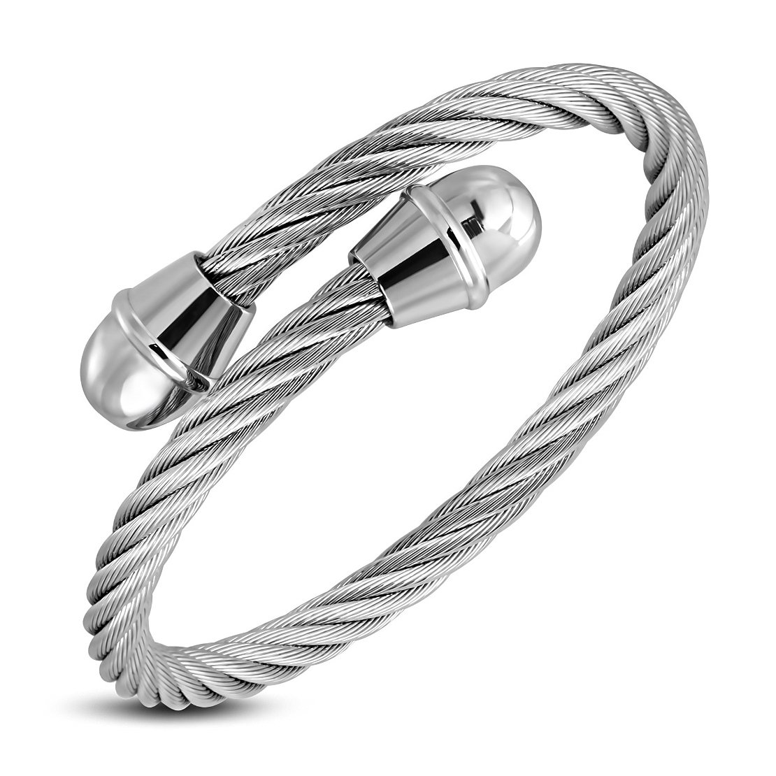 Stainless Steel Celtic Twisted Cable Wire Round Torc Cuff Bangle Length 9.2