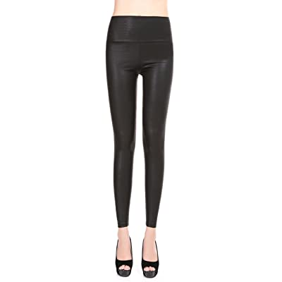 EDENKISS Women's High Waist Artificial Leather Legging at Women's Clothing store