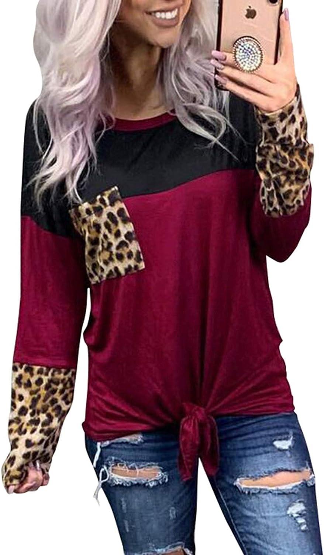 Womens Leopard Print Tops O-Neck Blouse Casual Cute Shirts Basic Splice Long Sleeve T-Shirt