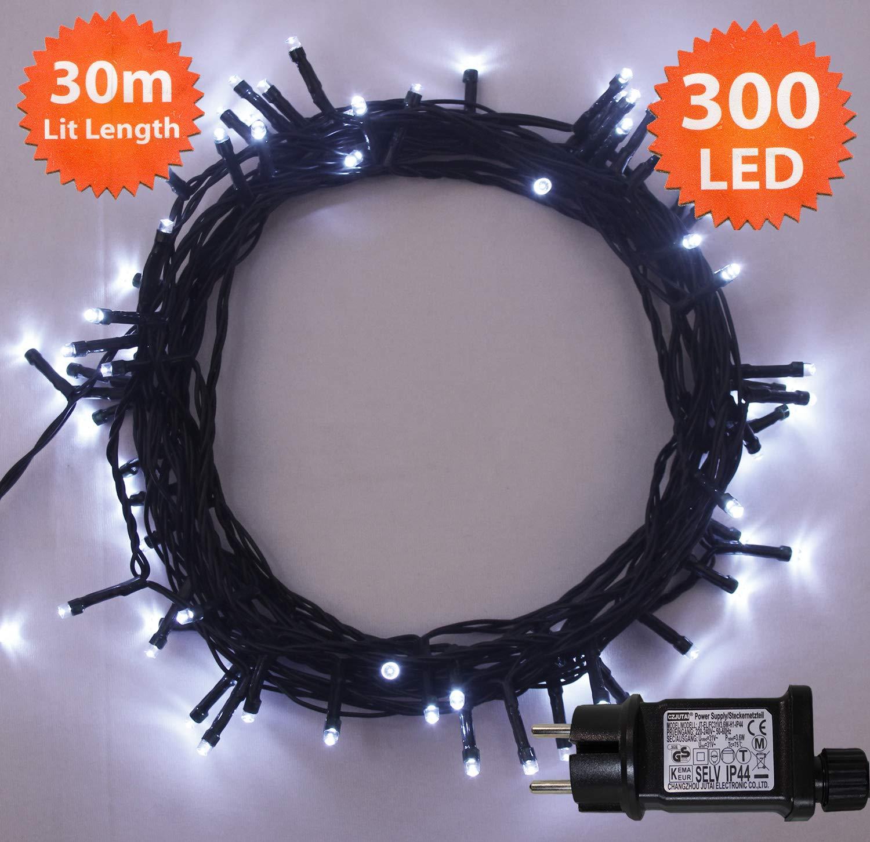 Luces de hadas de Navidad 300 LED Luminous Blanco luces de árbol de interior y al aire libre uso de luces de cadena de Navidad 30m/98ft iluminado longitud ...