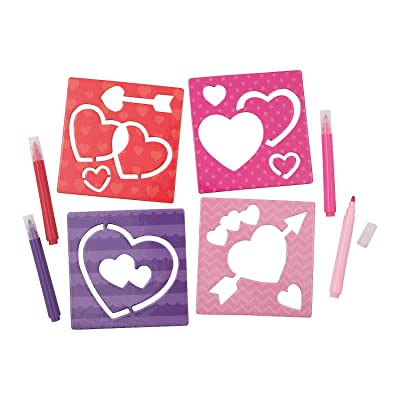 Fun Express - Valentine's Day Stencils for Valentine's Day - Stationery - Office Supplies - Classroom Supplies - Valentine's Day - 12 Pieces: Toys & Games