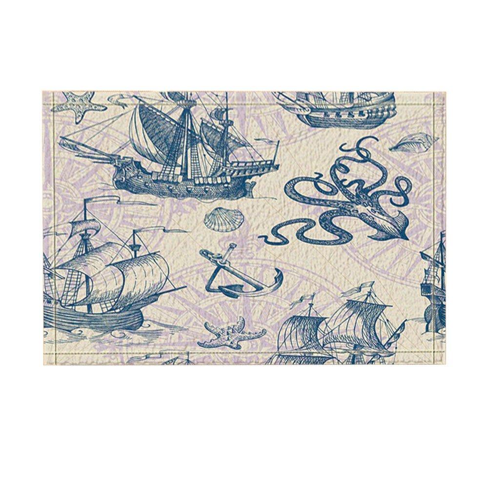 NYMB Nautical Wooden Ship, Anchored Octopus in Vintage Bath Rugs, Non-Slip Doormat Floor Entryways Outdoor Indoor Front Door Mat, Kids Bath Mat, 15.7x23.13in, Bathroom Accessories