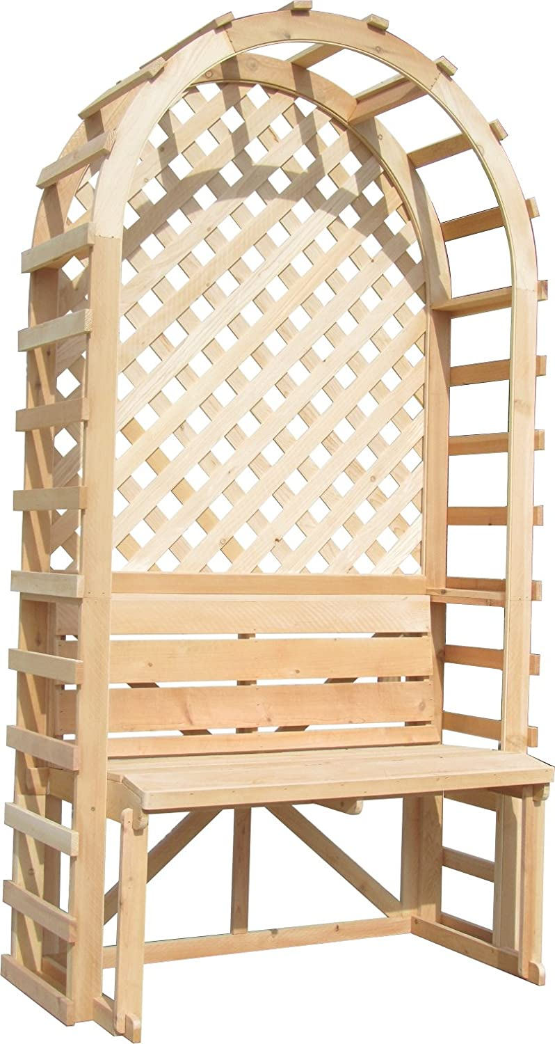 "SamsGazebos English Cottage Garden Arbor with Bench and Trellis Backdrop, 42""W x 80""H x 22""L, Natural"