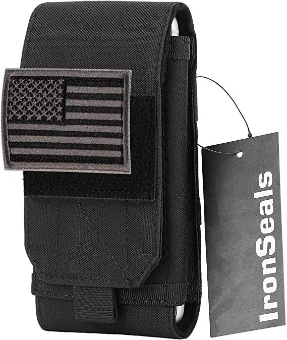 IronSeals Tactical Molle Cell Phone Cover Case, Heavy Duty Loop Belt Holster Pouch with Flag Patch for iPhone 12 Pro Max/12 Pro/12/11 Pro Max/Xs Max/XR/X/8P, Samsung S21/S20/S10/S10e/S9+/S8+, Size L
