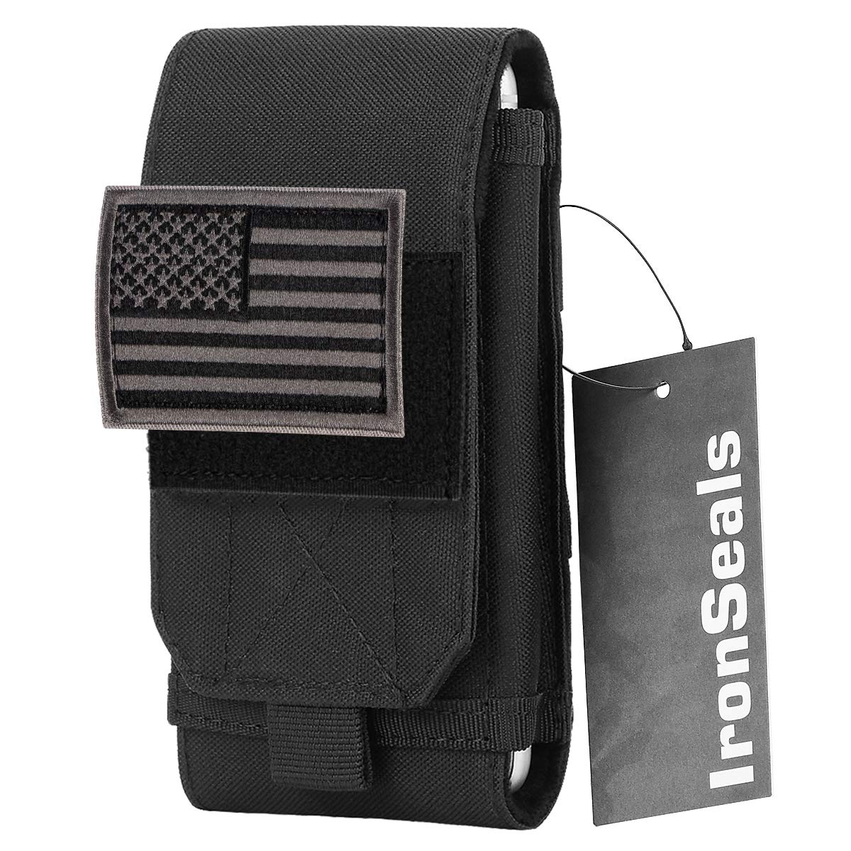 Large Heavy Duty Belt Pouch Phone Holster with Flag Patch for iPhone 12 Pro Max//11 Pro Max//11//XS Max//X//8 Plus//8 Galaxy S9 Plus//S9 Samsung Note 10 Plus//10//9//8 IronSeals Tactical Molle Pouch