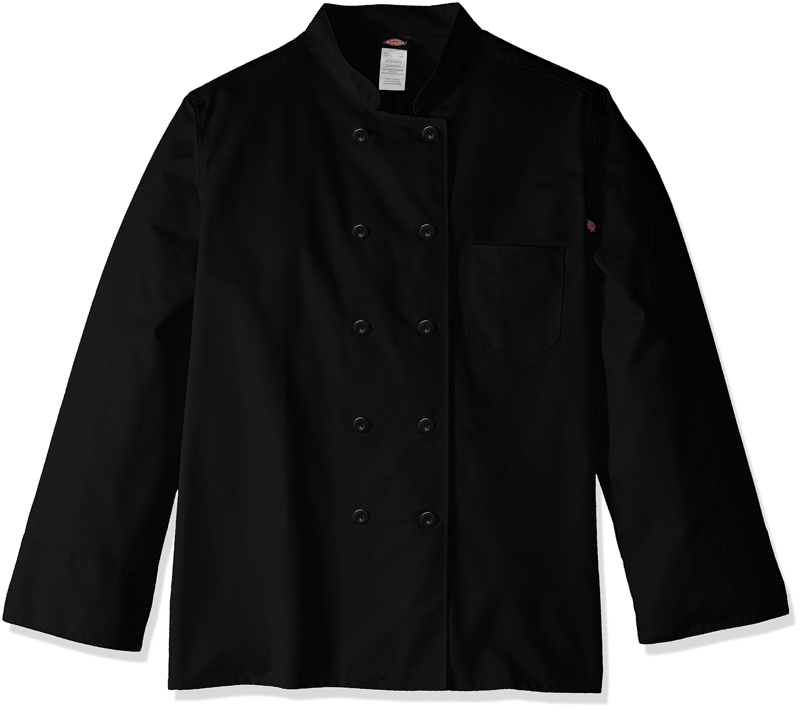 Dickies Chef Women's Plus Size Classic Coat, Black, 5X-Large
