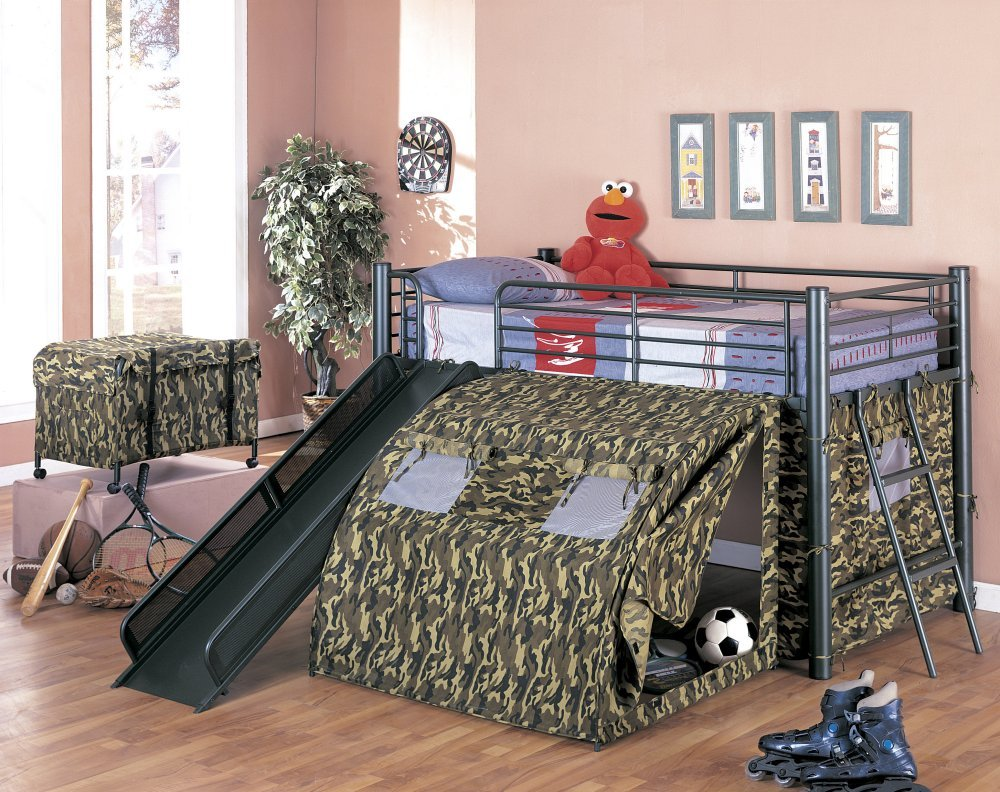 Cool bunk beds with slides - Amazon Com Coaster Kid S Oates Lofted Bed With Slide And Tent Twin Size Kitchen Dining