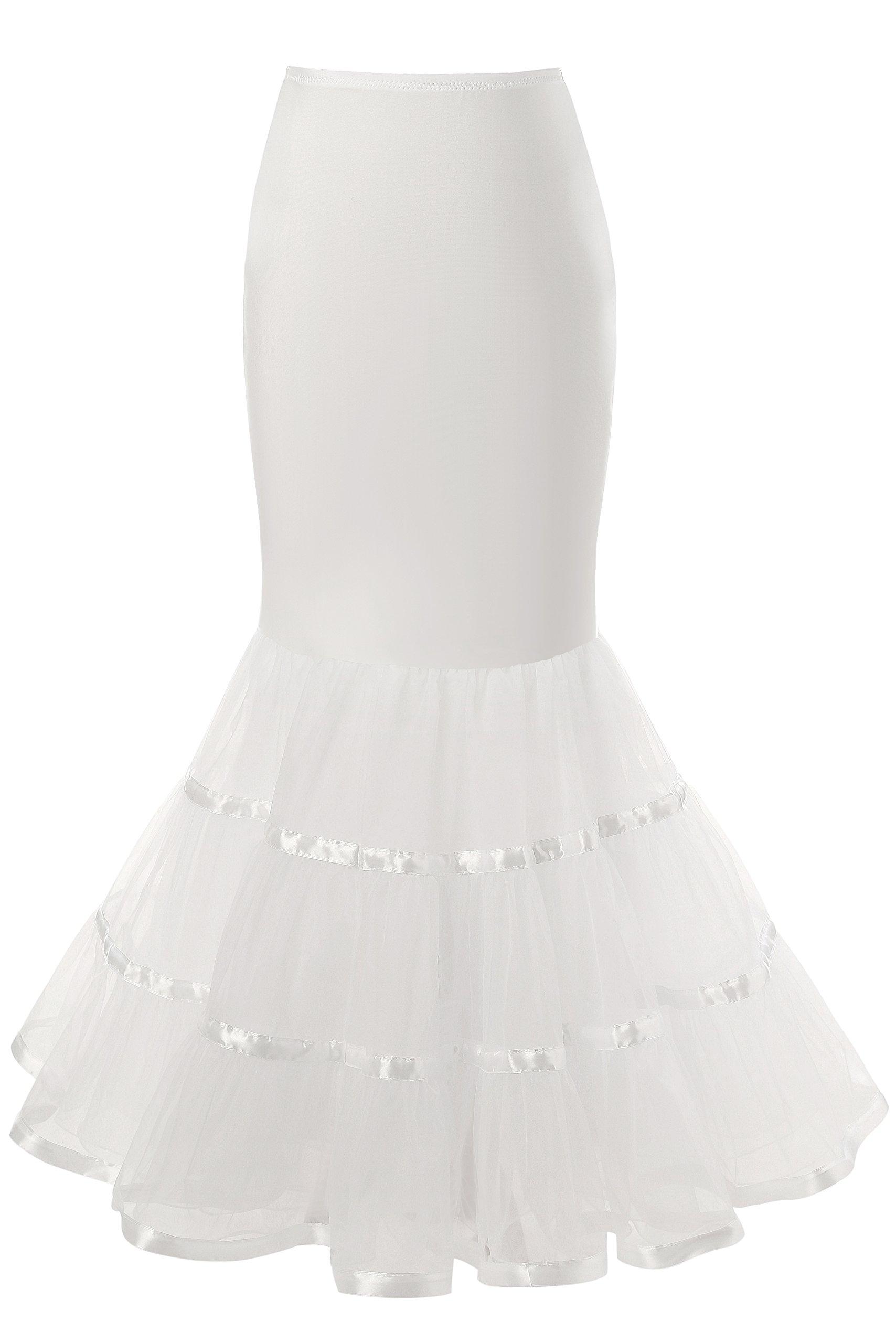 Snowskite Womens 3 Layers Floor Length Trumpet Mermaid Wedding Dress Petticoat, White, L/XL