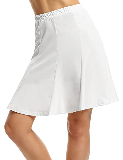 Meaneor Falda Plisada Blanca de Fiesta para Senora de Color Solido ...