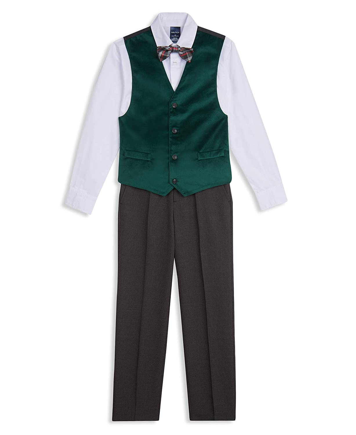 Victorian Kids Costumes & Shoes- Girls, Boys, Baby, Toddler Nautica Boys 4-Piece Vest Set with Dress Shirt Bow Tie Vest and Pants  AT vintagedancer.com