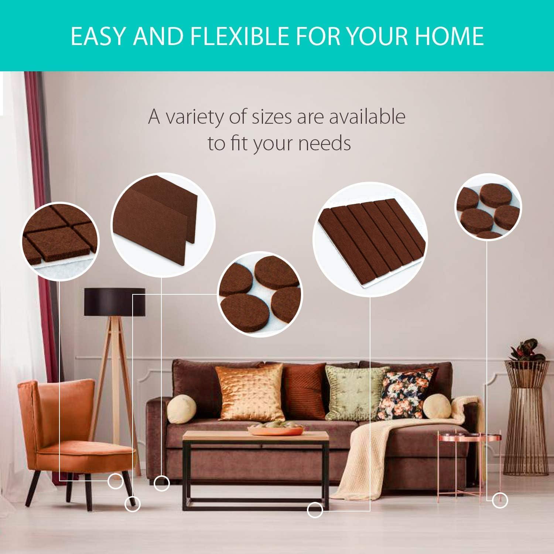 Incluye distintos tama/ños para proteger tus suelos de madera. Almohadillas de fieltro para muebles Protectores de fieltro gruesos con adhesivo para las patas de los muebles