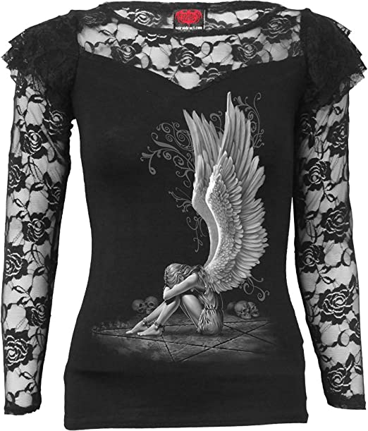 SPIRAL DIRECT SERAPHIM  Allover Baggy LADIES Top//Gothic//Elegance//Wings//Tribal