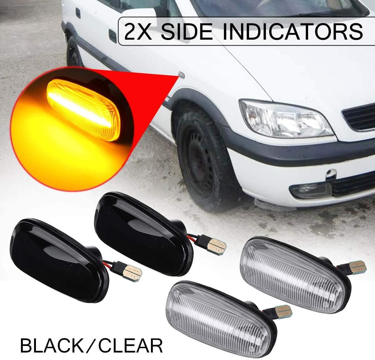 Summerwindy 2Pcs Car Side Marker Light LED Turn Signal Indicator Lamp for Zafira a 99-05 Astra G 98-09 Black