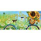 Evergreen Happy Day Sunflowers Decorative Mat Insert, 10 x 22 inches
