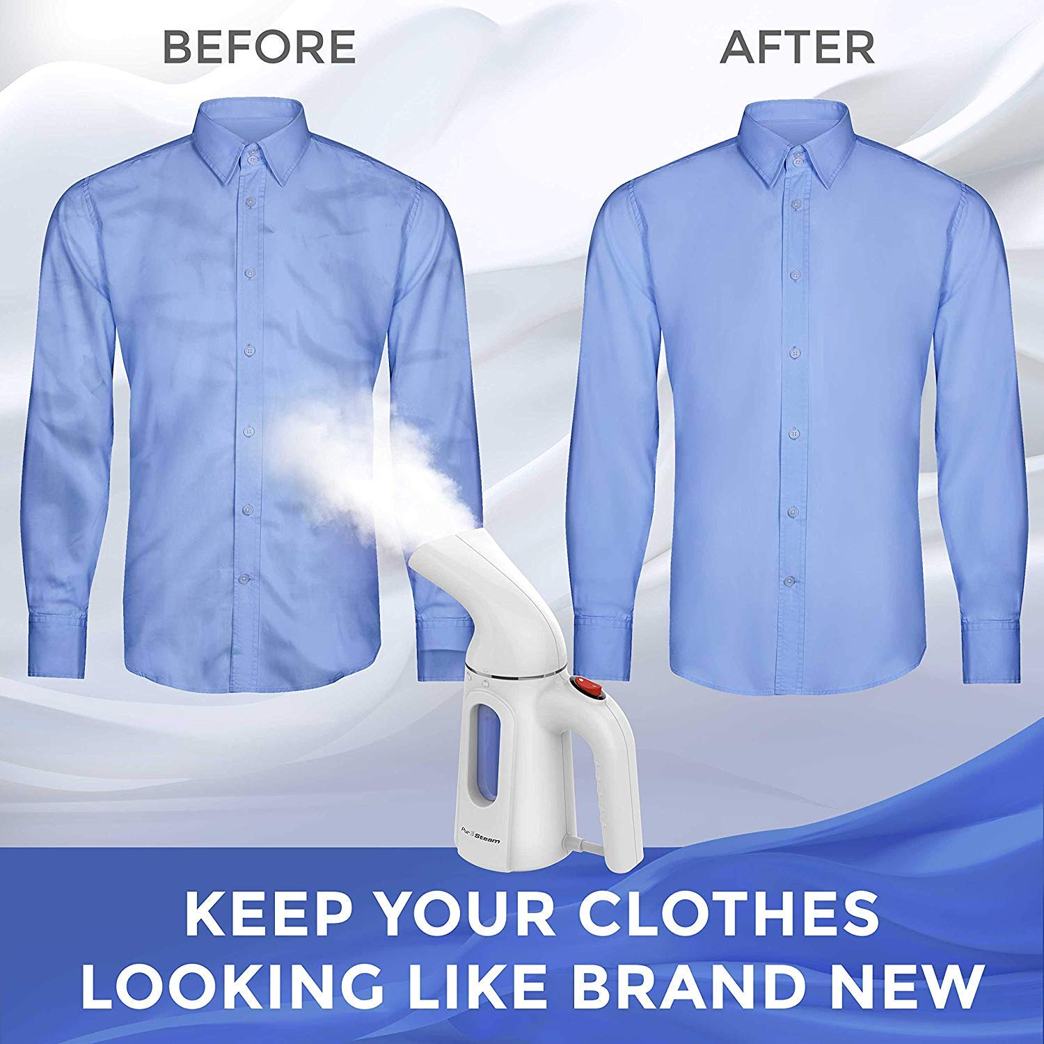 PurSteam Travel Steamer for Clothes. Highest Quality, Fastest Heating InfaTherm Technology , 8-in-1, Wrinkle Remover- Clean- Sterilize-Refresh- Treat-, Auto Off by PurSteam World's Best Steamers (Image #5)