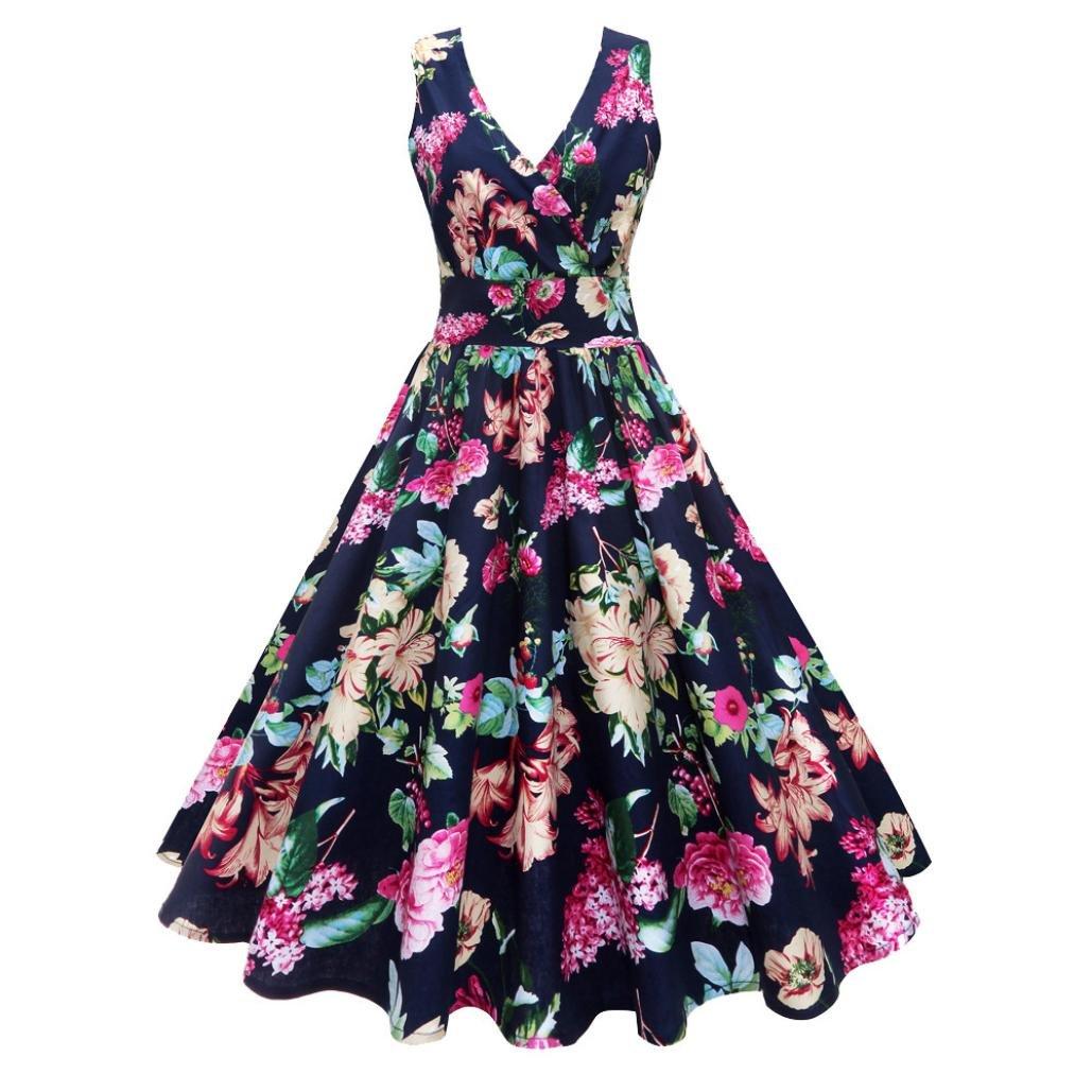 Vestido de mujer de tamaño grande - Saihui Vintage Print Elegante 1950s A-Line Retro Swing sin mangas profundo cuello V fiesta Midi vestidos 2XL azul ...