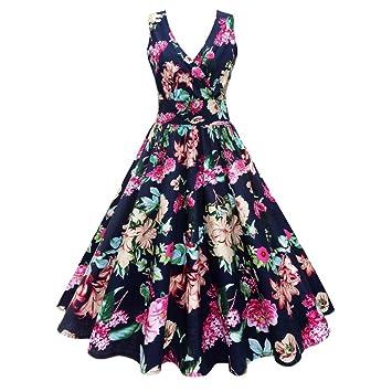 Vestido de mujer de tamaño grande – Saihui Vintage Print Elegante 1950s A-Line Retro
