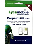 Lycamobile Triple Punch Standard, Nano, Micro All in One Prepaid SIM Card for Unlimited Talk, Text and Data with Free PIN Ejector Tool
