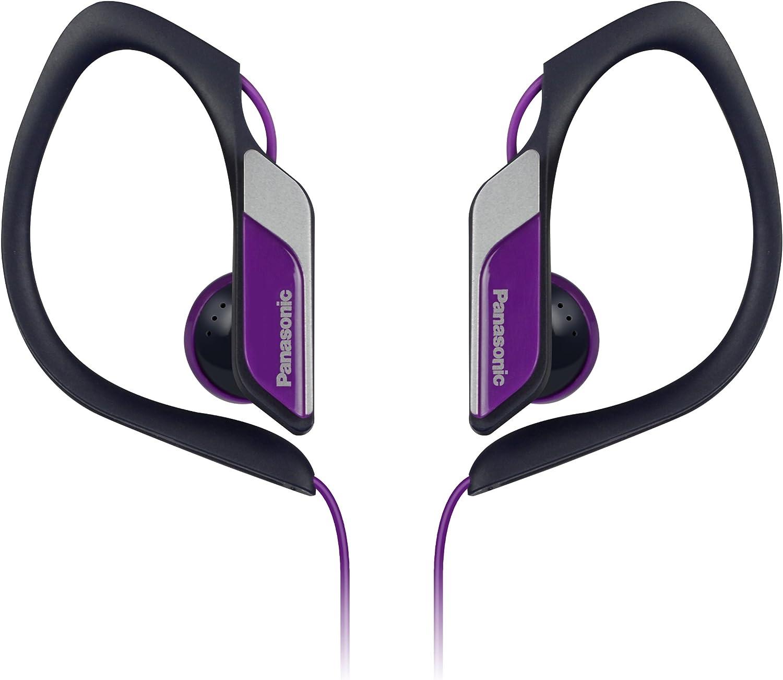 Panasonic Sports Clip Earbud Headphones RP-HS34-V (Purple) Water Resistant, Tough, Durable, Adjustable Ear Clip, Ultra Light, Best for iPhone