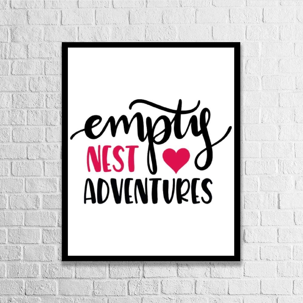 DKISEE Wall Art Empty Nest Adventures Wood Framed Sign Home Decor Wood Sign Wall Decor Poster Print