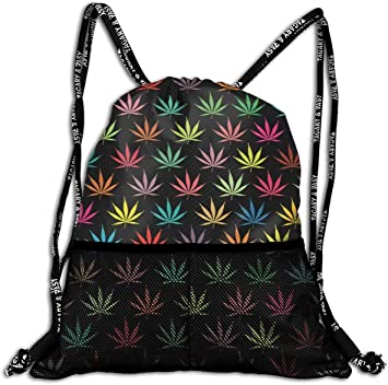 Mochila Casual,Mochila de Cuerdas Backpack Cannabis Leaf Weed Pattern Large Drawstring Sports Gym Bag for Women Mens with Zipper and Mesh Pockets, Travel Beach Bag Pack for Teens Unisex: Amazon.es: Equipaje