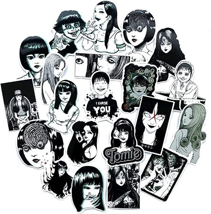 Amazon.com: 21pcs Tomie Junji Ito Horror Comic Black and White Thriller Horror Style Toy Sticker Luggage Trolley Laptop Sticker Doodle Sticker: Toys & Games
