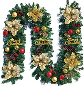ABETER 9Ft Artificial Christmas Garland for Christmas Decorations Portico Green Holiday Decor for Outdoor or Indoor,Pine Cones,Garland,Red and Gold Berries,for The Best Xmas Decoration
