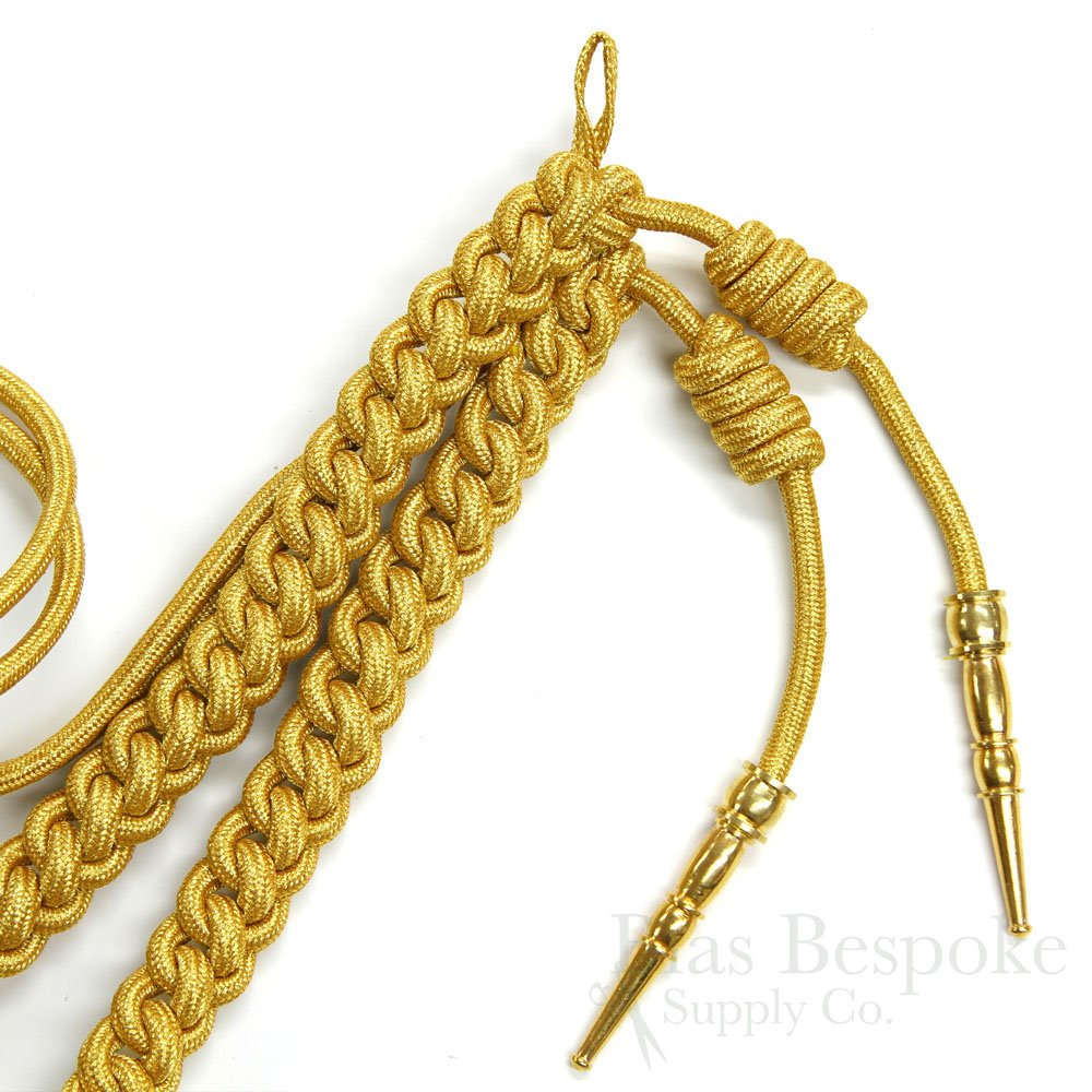 BEAU Braided Aiguillette with Metal Tips, Gold by Bias Bespoke