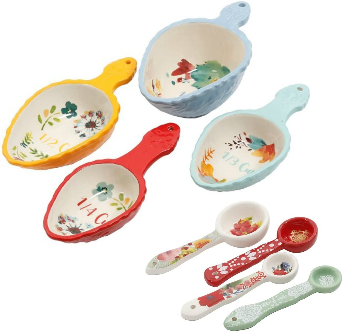 The Pioneer Woman 8 Piece Set - 4 Willow Measuring Scoops and 4 Winter Bouquet Measuring Spoons Ceramic Floral