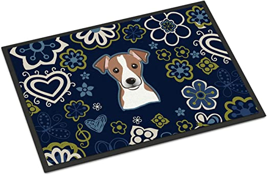 Carolines Treasures Blue Flowers Golden Retriever Floor Mat 19 x 27 Multicolor