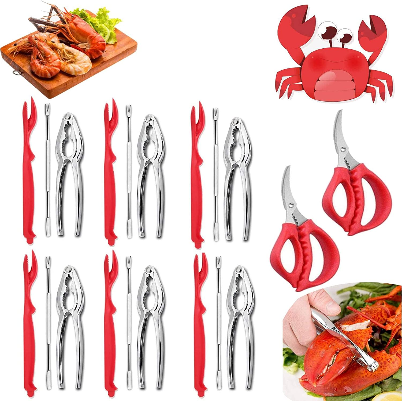 20 Pcs Seafood Tools Set, Crab Leg Crackers and Tools Includes 6 Crab Crackers, 6 Lobster Shellers, 6 Crab Leg Forks/Picks and 2 Seafood Scissors, Lobster Leg Sheller Knife Kitchen Accessories