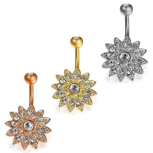 Damen Edelstahl Bauchnabelpiercing Blume Strass Piercing Nabelpiercing gold