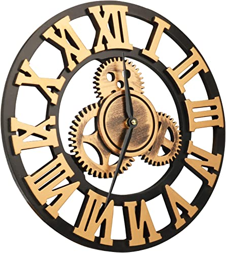 VIKMARI 14 inch 3D Vintage Industrial Gear Wall Clock Golden Roman Numerals Wooden Wall Clock Large Round Non-Ticking Silent Quartz Wall Clocks Decoration Wall Art Clock No Cover