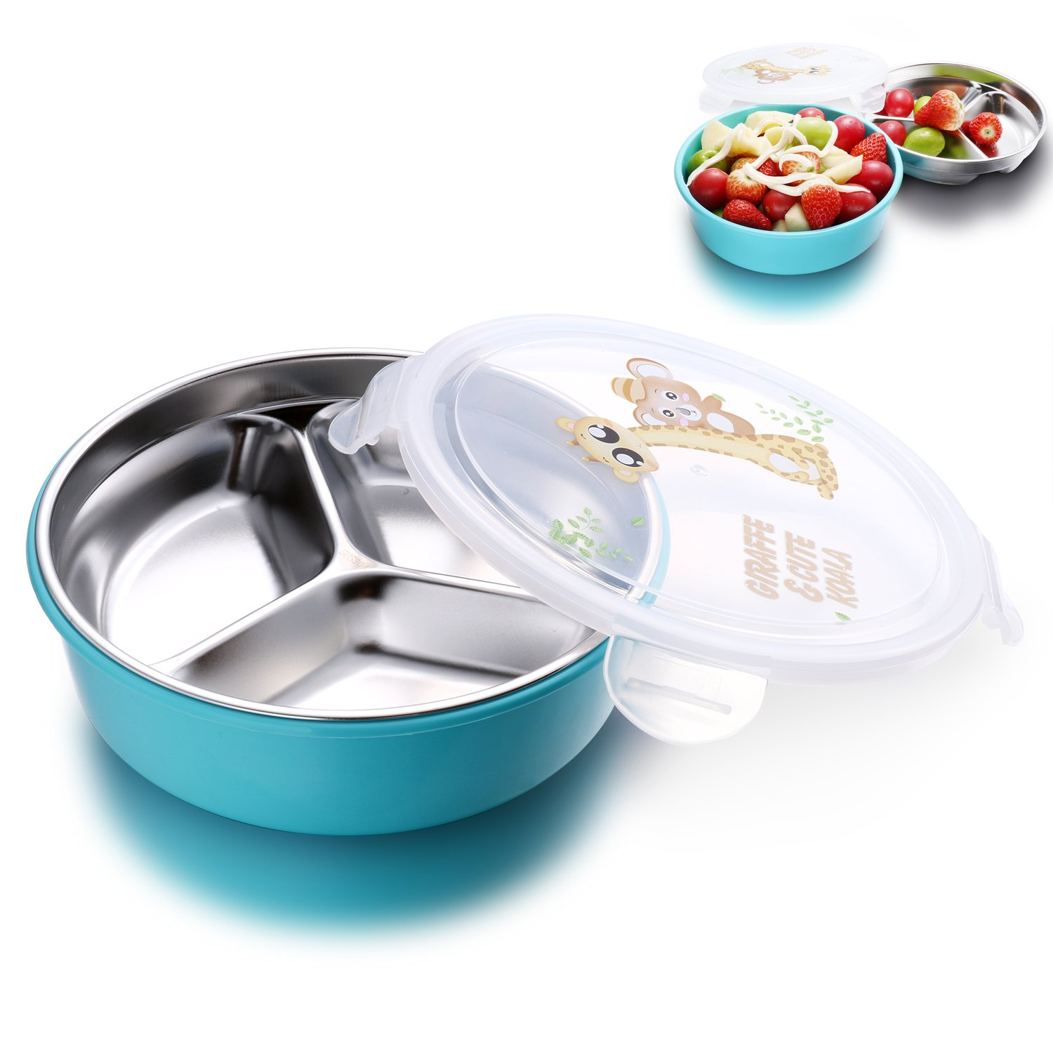 IRmm Top Rated Stainless Steel Salad Bowl,Fruit Bowl,Lunch Box for kids adults,Leak-Proof Food Storage Container (bento-blue(medium))