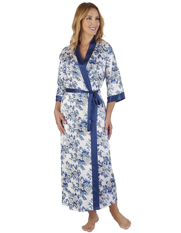 TALLA S. Slenderella GL2775 Women's Floral Satin Floral Robe Loungewear Bath Dressing Gown
