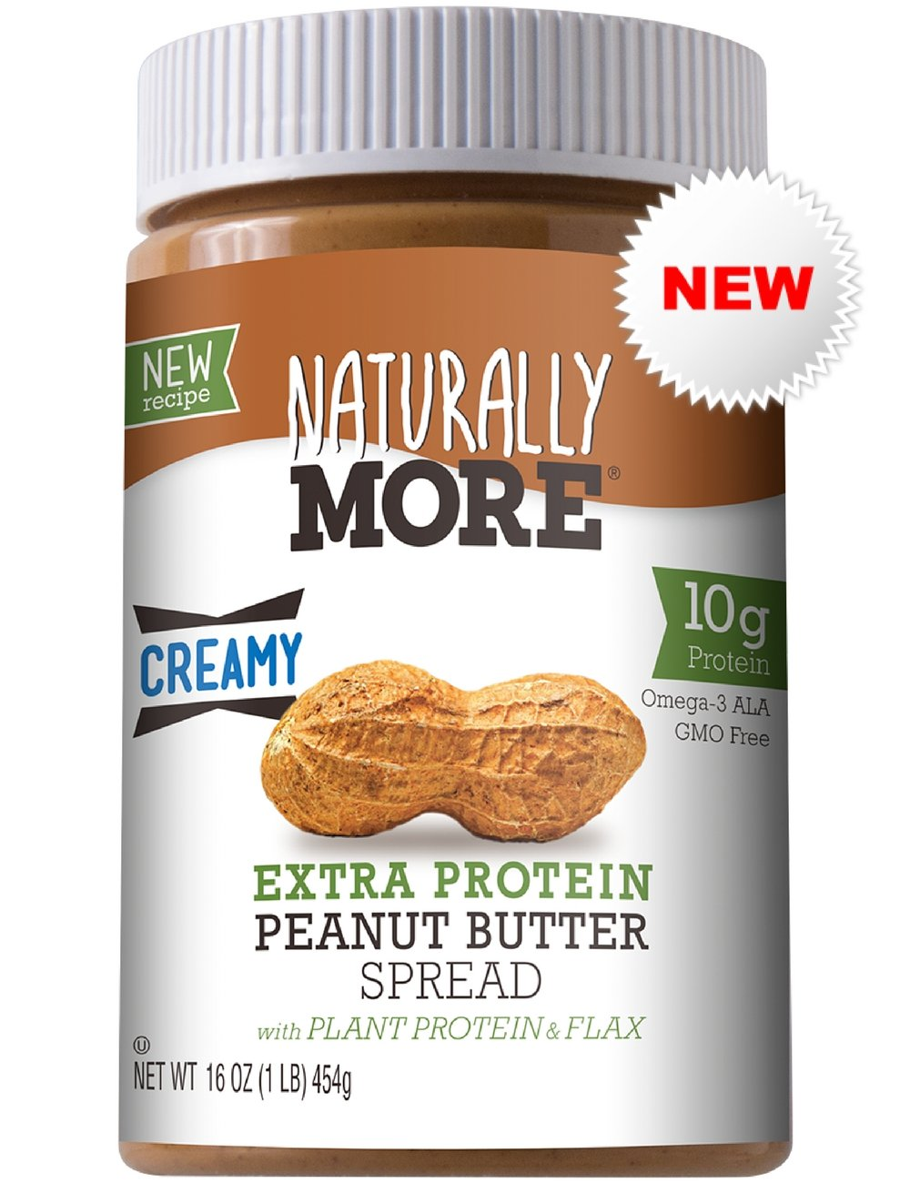Naturally More All Natural Creamy Peanut Butter Spread Extra High Protein - 10g Flaxseed - Plant Based Nut Butter