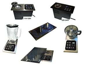 Built-in Blender:1000 Watt Motor (110V or 220V) Hidden Below Counter Top; Multi-Function, Universal: + Mini-Chopper + Protective Blk Glass Cover-(re: NuTone Food Center 251); Drawer Install Option;